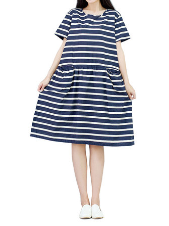Vintage Loose Women Stripe Pocket Pleated Cotton Linen Dress