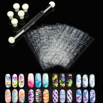 Hollow Sticker Double-ended UV Gel Stamping Transfer Brush Pen Sponge Nail Art Set Manicure Tool