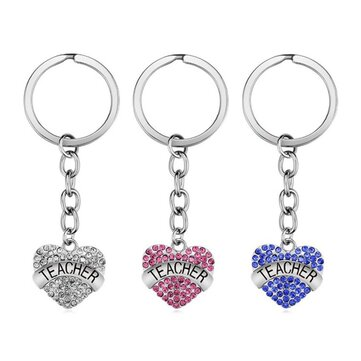 Teachers' Day Keychain Crystal Heart Alloy Gift Key Ring Key Chain
