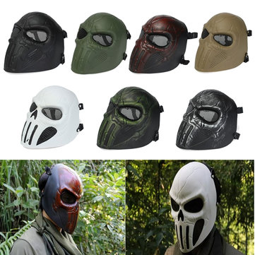 Punisher Skull Full Face Mask Eye Mesh for Hunting War Game Paintball