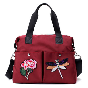 Women Nylon Vintage Dragonfly Embroidery Tote Bag Crossbody Bag