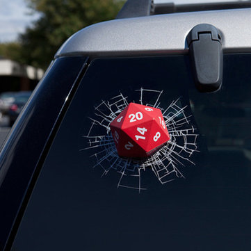 3D Red Car Dice Stickers Rear Window Wiper Reflective Decals