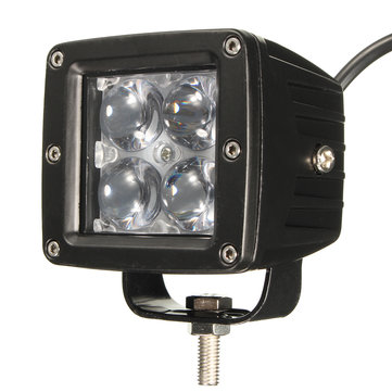 12W 4 LED Work Light Flood Light with Lens for ATV SUV Truck Car Motorcycle
