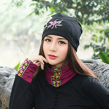 Ladies Cotton Ethnic Flavor Thin Embroidery Beanie Caps