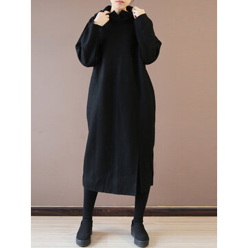 Casual Loose Pure Color Front Split Hooded Women Dresses