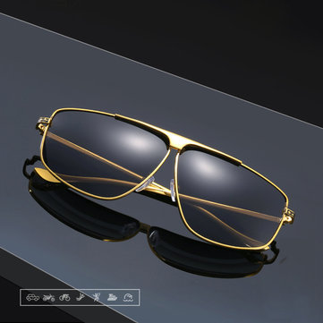 Mens Trendy Metal Polarized Sunglasses Anti-UV Mirror Rivet Decorative Goggles for Driving