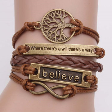 Vintage Unisex Multilayer Bracelet Hollow Tree of Life Lettering Waves Bracelets Ethnic Jewelry