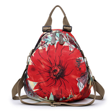 Multifunctional Flower Pattern Waterproof Bag Backpack Shoulder Bags Handbag For Women