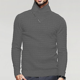 Men's Fashion Turtleneck Slim Fit Plaid Zipper Knit Sweater
