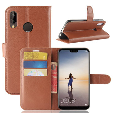 Bakeey Litchi Flip Wallet Card Slots Bracket PU Leather Protective Case For Huawei P20 Lite
