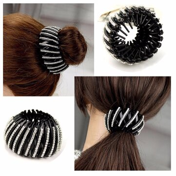 Female Ball Head Clip Buckle Hairpin Nest Hair Ring Plate