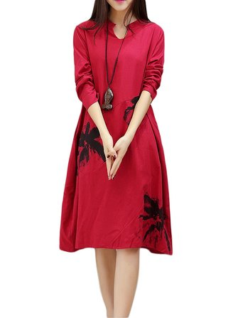 Vintage Women Ethnic Printing Pocket Long-sleeved Dress