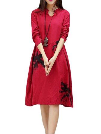 Vintage Women Ethnic Printing Pocket Long-sleeved Dress