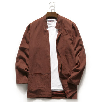 Mens Vintage Simple Style Casual Solid Color Jacket Coat