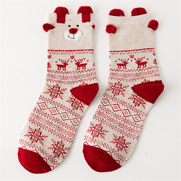 Women Cute Christmas Elk Cotton Socks Warm Soft Middle Tube Socks