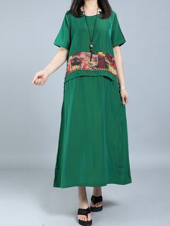 Vintage Women Fake Two Pieces Patchwork Printed Dress