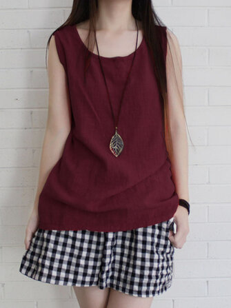 Women Sleeveless Solid Color Loose Vintage Tank Tops
