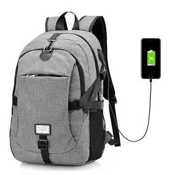 Men Nylon Sac à dos grand portable pour ordinateur portable avec port de chargement USB