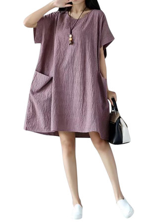 Casual Women Short Sleeve O-neck Pockets Dresses