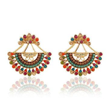 Bohemian Colorful Sector Drop Earrings Semicircle Rhinestone Piercing Ear Jacket Earring for Women