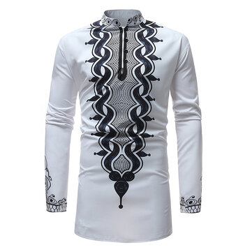 Men's African Style Loose Printing Stand Collar Casual Long Sleeve T-shirts