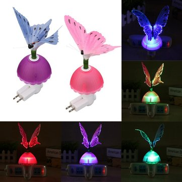 Mini LED Night Light Romantic Fiber Optical Colorful Changing Butterfly Lamp