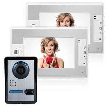 ENNIO SY813FA12 7 Inch Video Door Phone Doorbell Intercom Kit 1 Camera 2 Monitor Night Vision