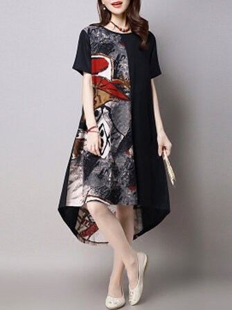 Vintage Women Short Sleeve Printed Patchwork High Low Dress