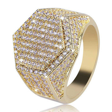 Gold Hip Hop Hexagon Finger Ring Micro Zircon Gemstone Gold Silver Plated Rings for Men