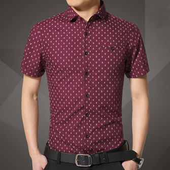 Mens Fashion Casual Slim Fit Skull Printing Turn-down Collar Short Sleeve Dress Shirt
