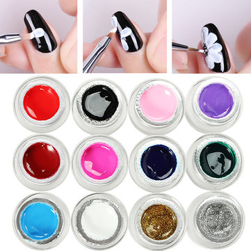 12 Coloured Painting Gel Nail Art Flower DIY Design Phototherapy Pigmented LED UV Liner