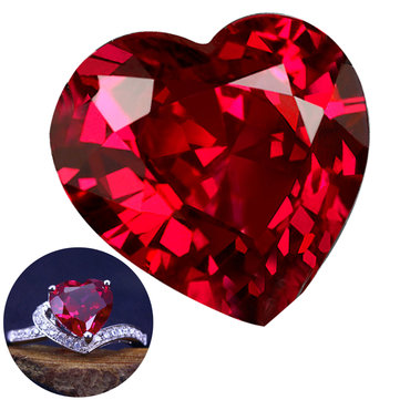 10mm Diamond Heart Artificial Zircon Pigeon Blood Red Ruby Pierres gemmes Jewelry DIY Making