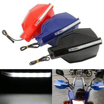 Pair 7/8inch 22mm LED Handlebar Handguard Protector Motorcycle Bike Universal