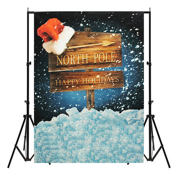 5x7ft Christmas North Pole Santa Hat Thin Vinyl Photography Backdrop Background Studio Photo Props