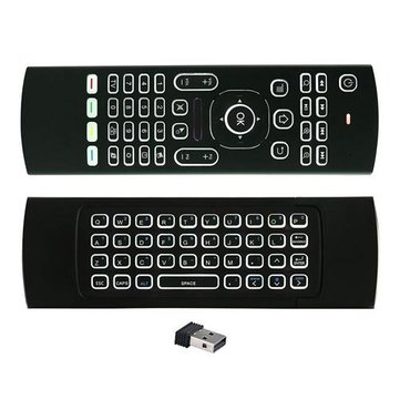 MX3 Wireless QWERTY White Backlit 2.4GHz Keyboard Air Mouse For TV Box MINI PC