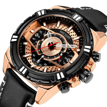 MEGIR 2118 Sports Style Complete Calendar Chronograph Waterproof Leather Quartz Watch Men Wristwatch