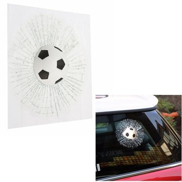 3D Football Ball Hit Car Sticker Glass Window Wind Shield Adhesive Decal
