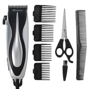 SURKER Electric Hair Clipper Trimmer Barber Hair Cutting Scissors Household Comb Brush Men Child