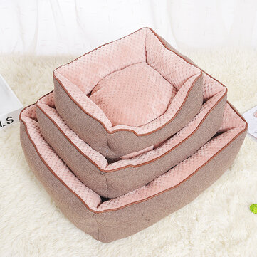 Cotton Linen Corn Kernels Pet Dog Cat Bed for Small Medium Bed House Cushion With Removable Pet Mat Nest