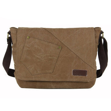 Men's Canvas Messenger Bag Crossbody Shoulder Bag Vintage Satchel