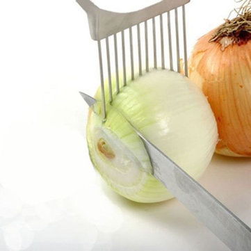 Handy Stainless Steel Onion Holder Slice Tomato Vegetable Potato Cutting Slicer Kitchen Gadget