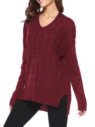 Long Sleeve V-Neck Twist Knitting Sweaters Pullover