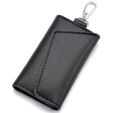 Leather Car Key Bag Case Men Women Keychain Holder Organizer Pouch Cow Split Mini Wallet Card Bag