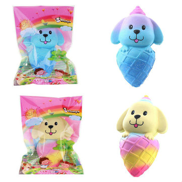 Vlampo Squishy Dog Puppy Ice Cream 16cm Jumbo Slow Rising With Packaging Collection Gift Soft Toy