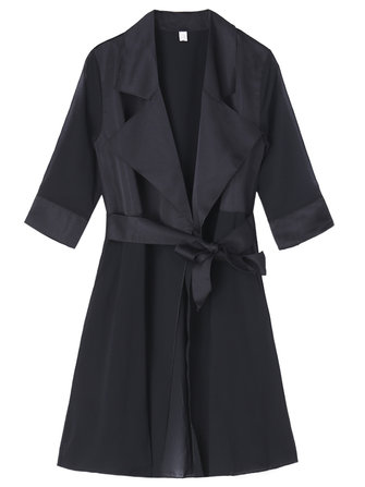 Elegant Women Half Sleeve Solid Patchwork Chiffon Trench Coat Cardigan