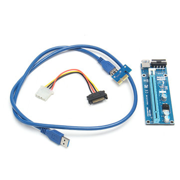 1M USB 3.0 PCI-E 1x to 16x Powered Extender Riser Board Card SATA Cable Adapter