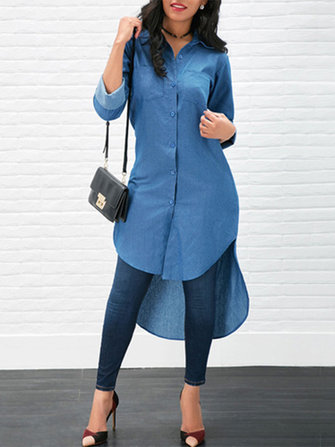 Asymmetric Hem Pocket Low high Loose Denim Shirt Dress