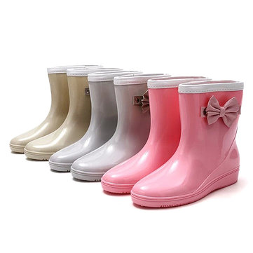 New Women Fashion Non-Slip Comfortable PVC Rubber Slip-On Ankle Short Rain Boots