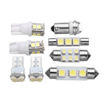 8Pcs 1156 T10 Festoon LED Car Interior Dome Map Lights License Plate Bulb Lamp Kit White