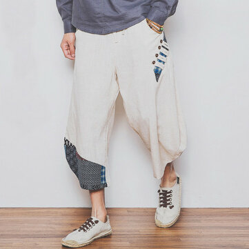 Large Size Pure Color Linen Cotton Tenths Trousers